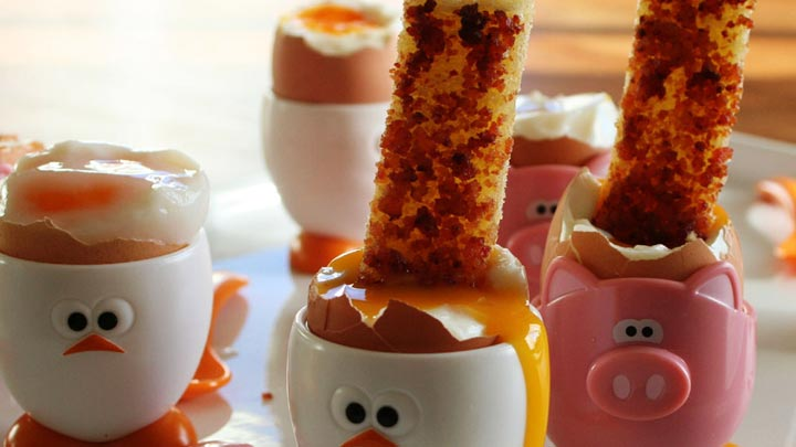 BACON SOLDIERS with SOFT BOILED EGGS