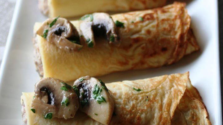 CREPES MUSHROOM and HAM